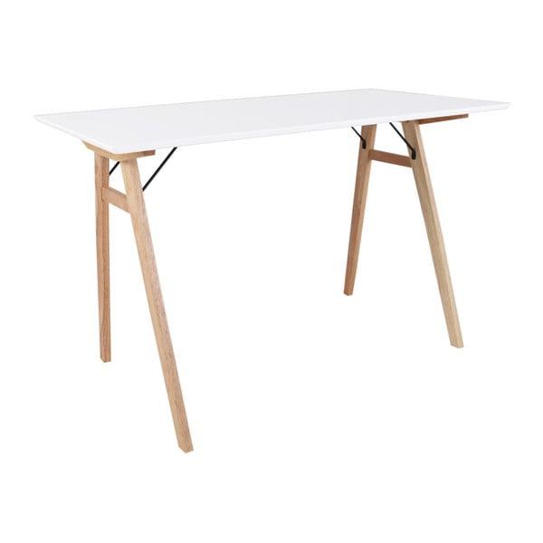 Vojens Desk fehér asztal barna lábakkal, hosszúság 120 cm - House Nordic