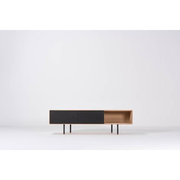 Čierny TV stolík z dubového dreva Gazzda Nero, šírka 160 cm