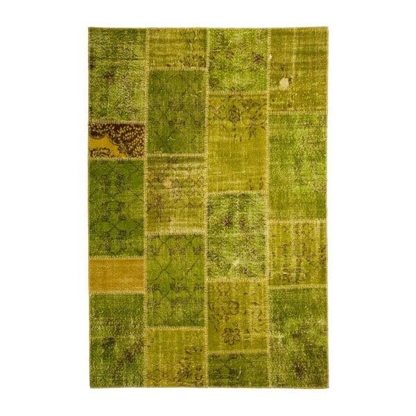 Vlněný koberec Allmode Patchwork Green, 180x120 cm