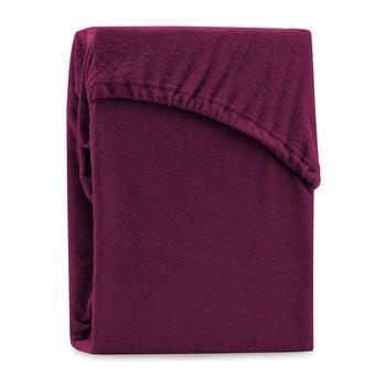 Cearșaf elastic pentru pat dublu AmeliaHome Ruby Dark Cherry, 180-200 x 200 cm, vișiniu închis