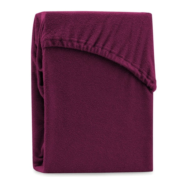 Cearșaf elastic pentru pat dublu AmeliaHome Ruby Dark Cherry, 200-220 x 200 cm, vișiniu închis
