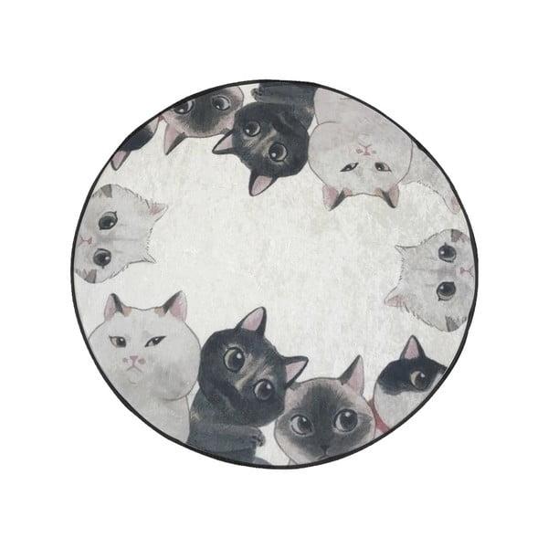 Biało-szary dywanik łazienkowy Lismo Cats, ⌀ 100 cm