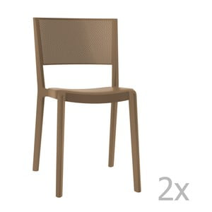 Sada 2 hnědých zahradních židlí Resol Spot