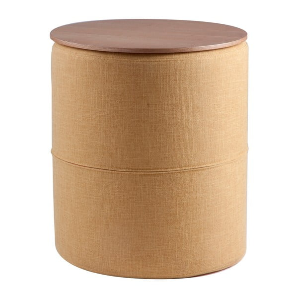 Żółty stolik z blatem w dekorze drewna dębowego sømcasa Leo, ø45cm