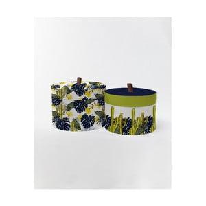 Kulaté úložné krabice Surdic Round Boxes Cactus and Monstera s motivem rostlin, 30 x 30 cm