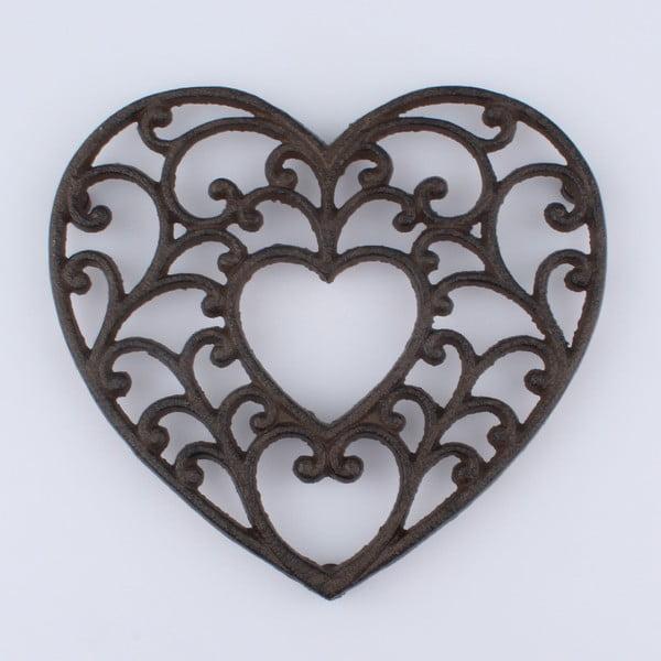 Litinová podložka pod hrnec ve tvaru srdce Dakls Rustico