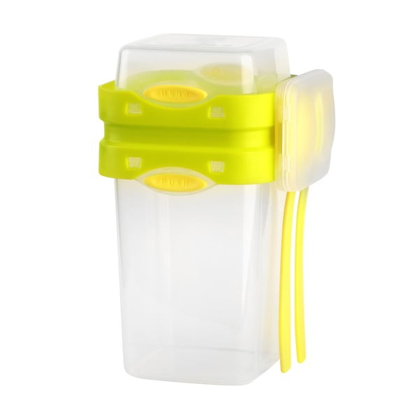 Kétrészes zöld ételes doboz evőeszközökkel, 650 ml + 230 ml - Vialli Design