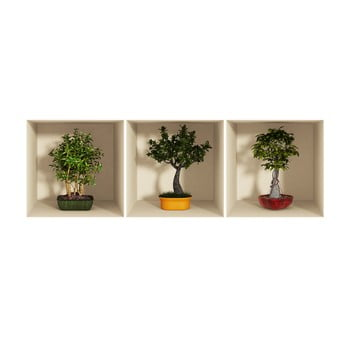 Set 3 autocolante cu efect 3D Ambiance Bonsai Trees imagine