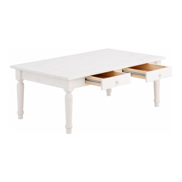 Bílý konferenční stůl se šuplíky z masivního borovicového dřeva Støraa Normann L