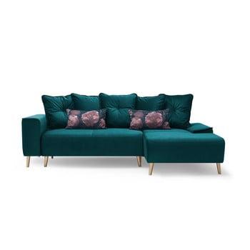 Canapea extensibilă cu șezlong pe partea dreaptă Bobochic Paris Hera, albastru închis de la Bobochic Paris
