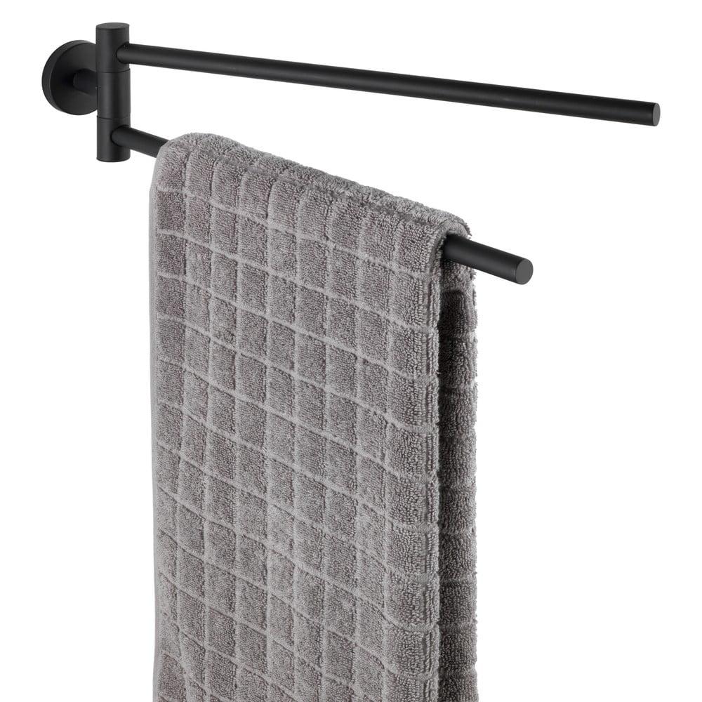 Produktové foto Černý nástěnný držák s 2 rameny na ručníky z nerezové oceli Wenko Bosio Rail
