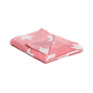 Pătură din micropluș My House Stars, 150 x 200 cm, roz-alb
