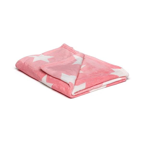 Růžová mikroplyšová deka My House Stars, 150x200cm