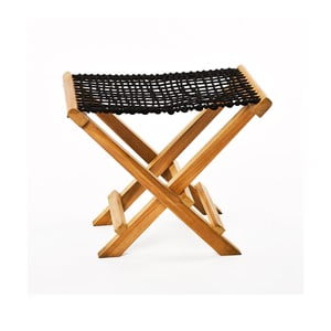 Černá skládací stolička z teakového dřeva a výpletem z provazu Simla Lay