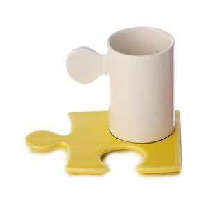 Porcelánový hrnek Puzzle White/Yellow