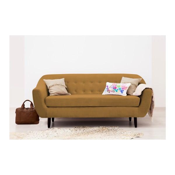 Canapea 3 locuri Vivonita Laurel, galben închis
