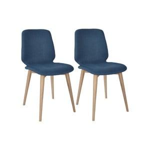 Sada 2 tmavě modrých jídelních židlí s nohami z masivního dubového dřeva WOOD AND VISION Cut