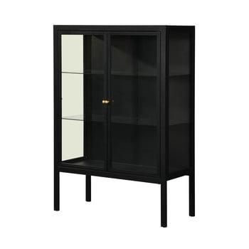 Vitrină cu două uși Støraa Alva, înălțime 140 cm, negru
