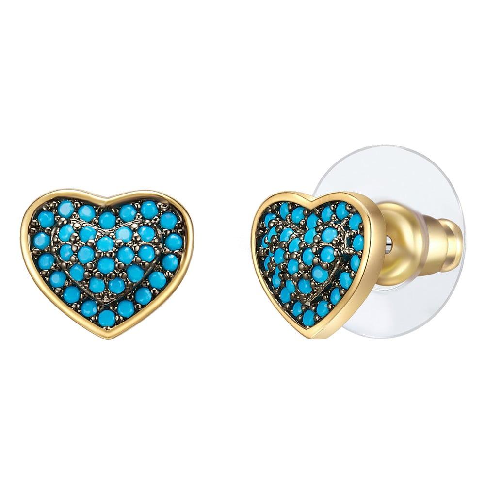 Dámské náušnice v zlaté a tyrkysově modré barvě se zirkony Tassioni Water