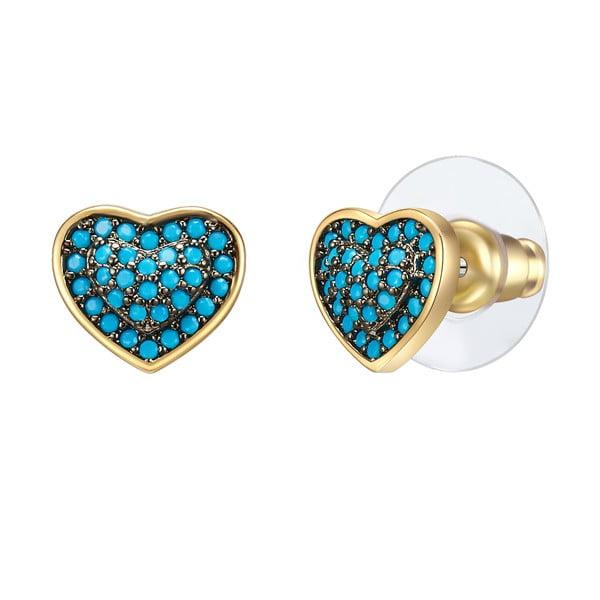 Cercei cu pietre zirconiu Tassioni Water, auriu - albastru turcoaz