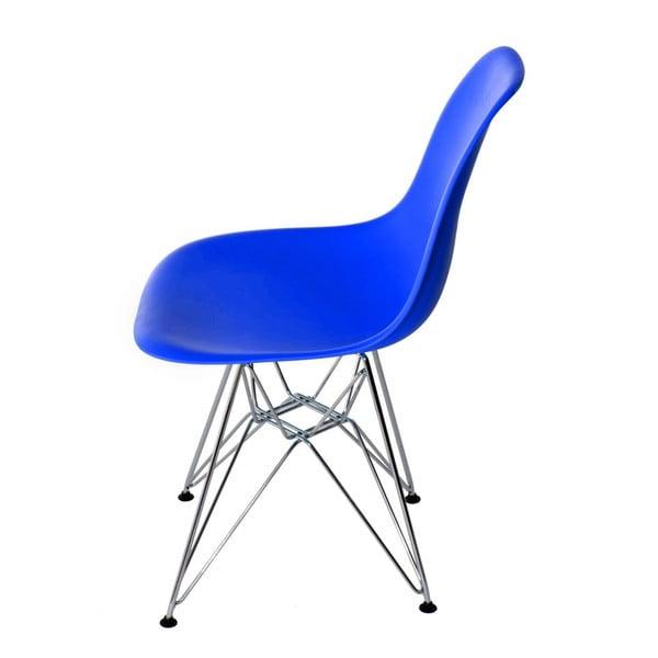 Tmavě modrá židle D2, chromové nohy