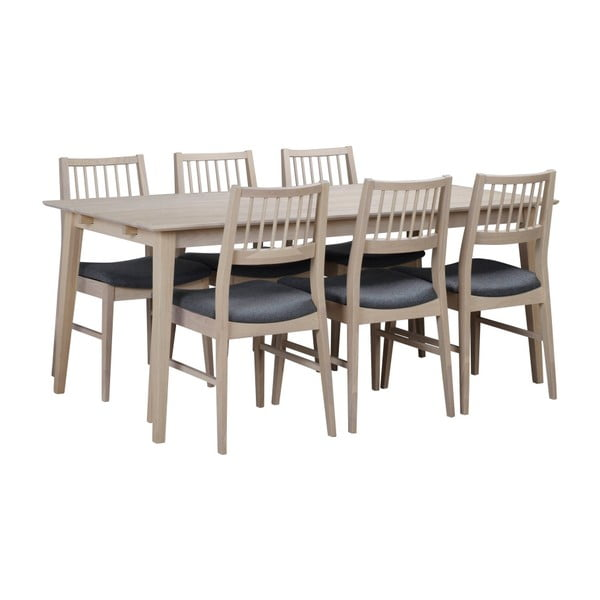 Matně lakovaný rozkládací dubový jídelní stůl Folke Mimi, délka 180cm