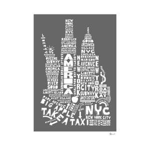 Plakát New York Grey&White, 50x70 cm