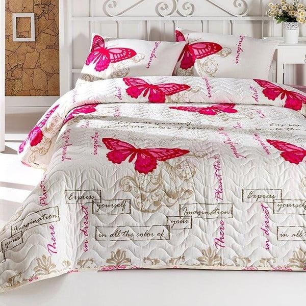 Zestaw narzuty dwuosobowej i 2 poszewek na poduszki z domieszką bawełny Love Butterflies, 200x220 cm