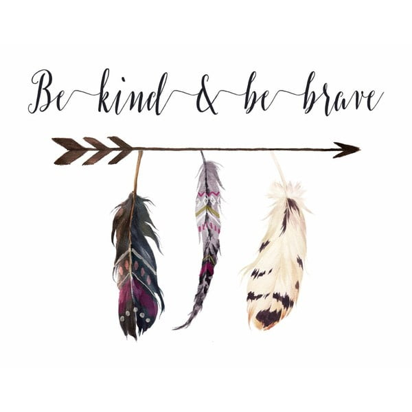 Plakát v dřevěném rámu Be kind be brave simple, 38x28 cm