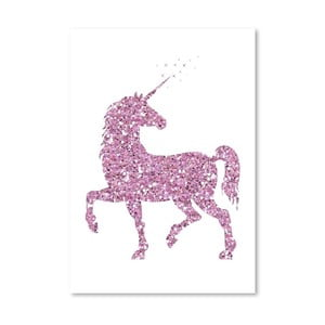 Poster Americanflat Glitter Unicorn in Pink, 30 x 42 cm