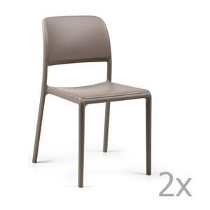 Sada 2 béžovošedých zahradních židlí Nardi Riva Bistrot