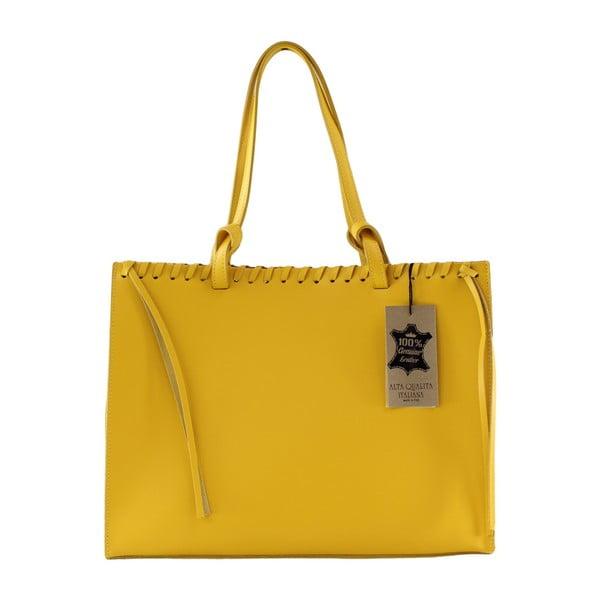 Žlutá kožená kabelka Chicca Borse Sala