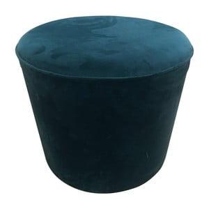Modrý puf s nohami z borovicového dřeva Simla Velvet, ⌀45cm