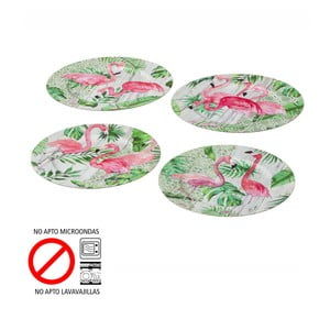Sada 4 talířů Unimasa Flamingos