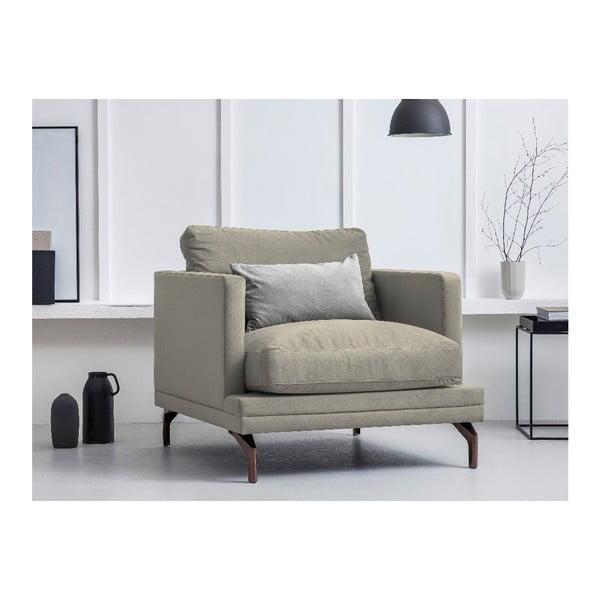 Béžové křeslo s podnožím ve zlaté barvě Windsor & Co Sofas Jupiter