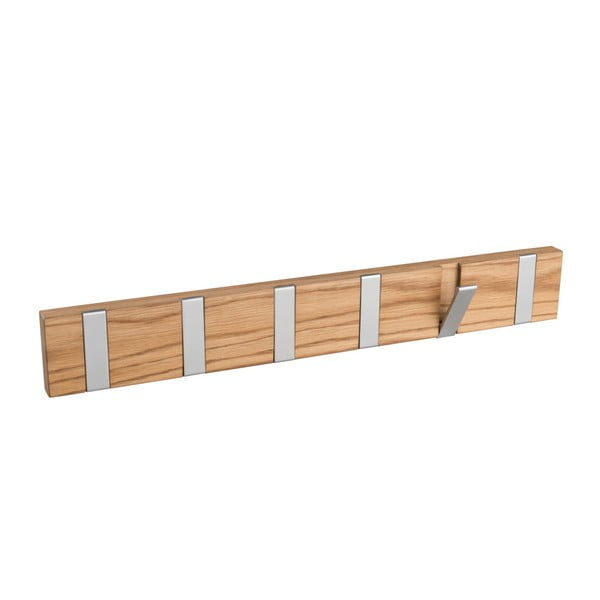 Přírodní věšák z dubového dřeva s 6 výklopnými háčky Rowico Confetti