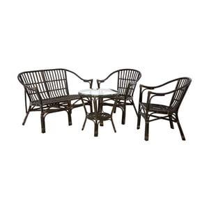 Set 2 ratanových židlí, stolu a lavice Premier Housewares Milano