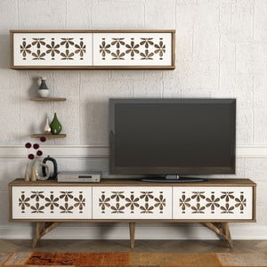 Set TV komody a nástěnných skříněk v dekoru ořechového dřeva Flor