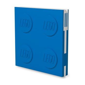 Jurnal pătrat cu pix cu gel LEGO®, 15,9 x 15,9 cm, albastru imagine