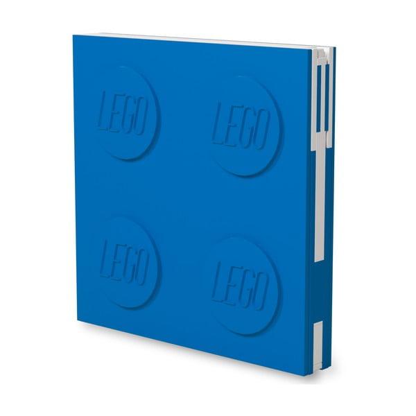 Jurnal pătrat cu pix cu gel LEGO®, 15,9 x 15,9 cm, albastru