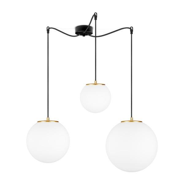 Biała lampa wisząca z 3 abażurami i obwódką w kolorze złota Sotto Luce TSUKI