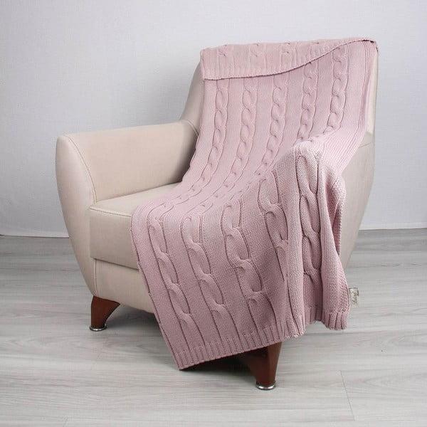 Różowa bawełniana narzuta Couture, 130x170 cm