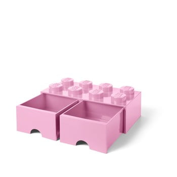 Cutie depozitare cu 2 sertare LEGO®, roz deschis imagine