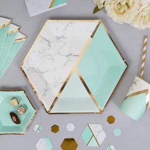 Sada 8 papírových talířů Neviti Mint Colour Block Marble