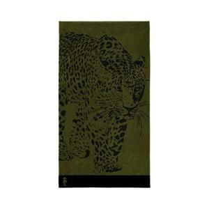 Olivově zelená bavlněná osuška Seahorse Sheetah, 180x100cm