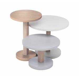 Sada 3 stolků z dubového dřeva Another Brand Tavollini Grey
