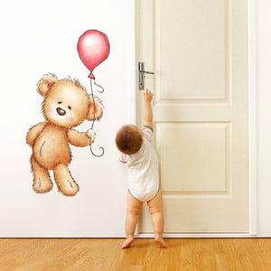 Samolepka na stěnu Medvídek a balonek, 70x50 cm