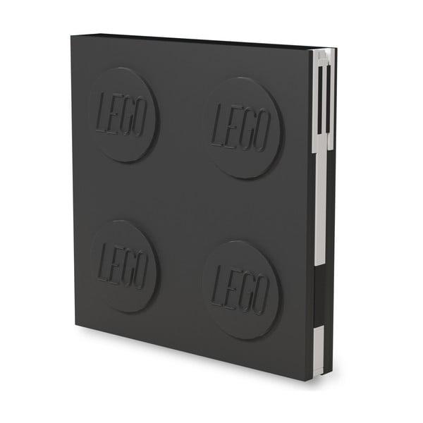 Jurnal pătrat cu pix cu gel LEGO®, 15,9 x 15,9 cm, negru