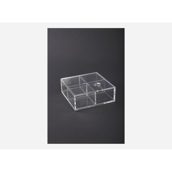 Box se čtyřmi přihrádkami, 16x16x6 cm