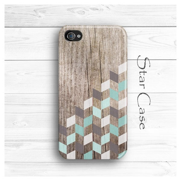 Obal na iPhone 4/4S Wood Herringbone Mint